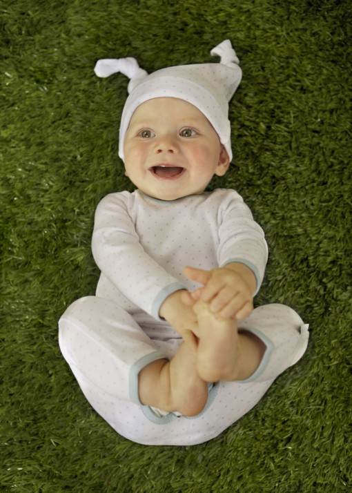 ORGANIC COTTON LONG BABYGROW & MATCHING HAT